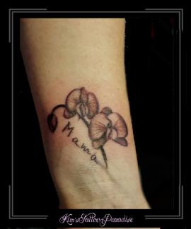 orchidee, bloemen, gedenktattoo, eigen tekst, pols,
