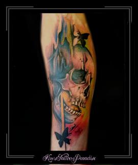 skelet,skull,doodskop,vlinder,onderarm,kleur,