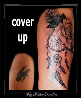 coverup,rozen,roos,bloemen,veer,pauwenveer,dreamcatcher,dromenvanger,bovenarm,