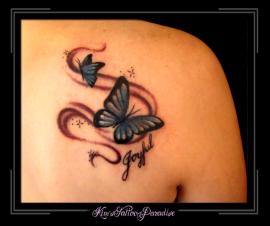 vlinders blauw schouder