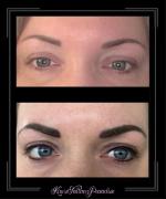 wenkbrauwen en eyeliner boven onder