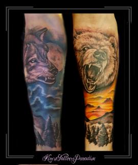 beer wolf zonsondergang maan onderarm