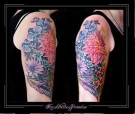 bloemen veer kleur bovenarm