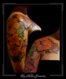 bloemen,fucsia,lelie,kleur,bovenarm,sleutelbeen,