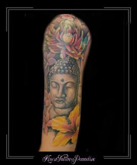 boeddha budha bloemen bovenarm