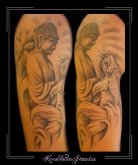 boeddha budha karper vis stralen bovenarm