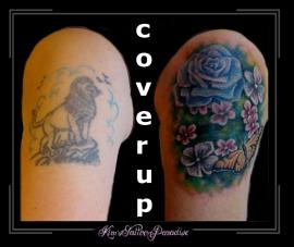 coverup bloemen rozen vlinder bovenarm