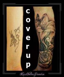 coverup bloemen vinders lelies onderarm