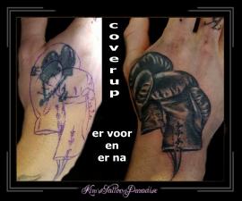 coverup bokshandschoenen hand