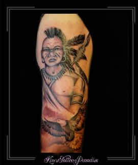 coverup indiaan,adelaar,bovenarm,