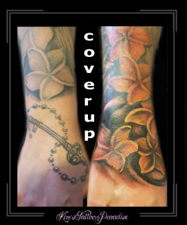 coverup,hand,pols,bloemen,