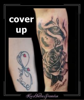 coverup,tijger oog,rozen,roos,bloemen,namen,onderarm,