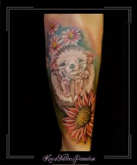 egel,bloemen,onderarm,