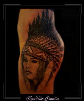 indiaan, indiaanse,vrouw,tooi,bovenbeen,