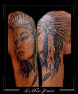 indiaan vrouw portret bovenarm