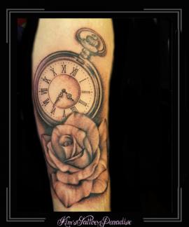 klok,roos,rozen,bloemen,onderarm,