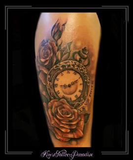 klok,rozen,roos,bloemen,cijfers,romeinse,bovenarm,