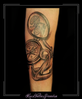 kompas anker touw onderarm