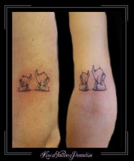 moeder dochter tattoo olifantjes