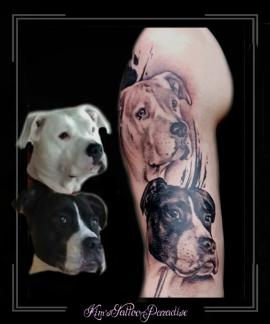 portret hond trash bovenarm