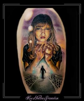 portret meisje zon brug schaduw silhouet bovenarm