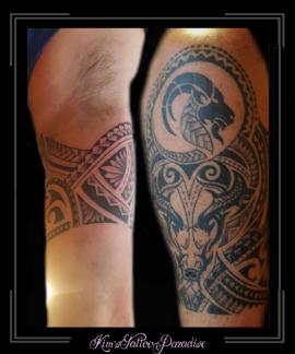 ram,steenbok,polinesisch,maori,bovenarm,