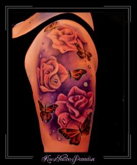 rozen en vlinders bovenarm