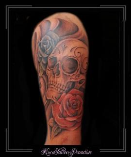 skull skelet doodshoofd bloemen bovenarm