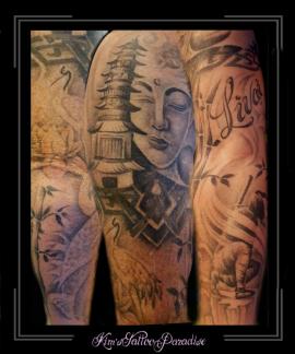 sleeve japans tempel boeddha papirus karper krijger