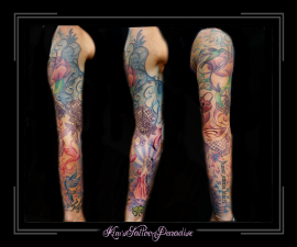 sleeve kleur vogels slot klavertje 4 kant mandala bloemen vrouw stralen wolken tekst lint