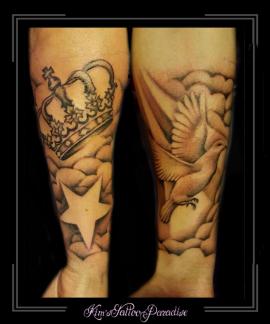 sleeve sterren vogel duif wolken kroon onderarm