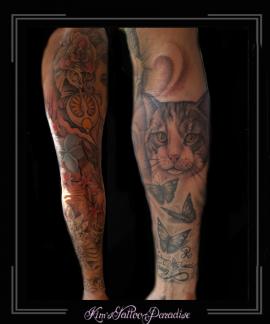 sleeve,portret,poes,kat,bloemen,lotus,vlinders,infinity,tekst,