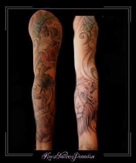 sleeve,rozen,bloemen,leeuw,kroon,krullen,skull,