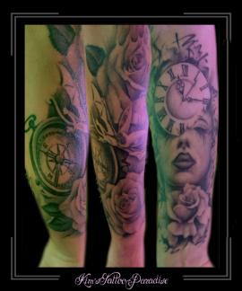 sleeve,vrouw,klok,kompas,bloemen,rozen,