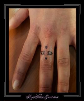 symbool hier en nu vinger tattoo