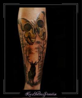 vlinder skull bomen hert onderarm