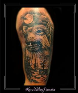 wolf,maan,bos,water,rivier,bovenarm,