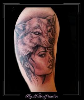 wolf,vrouw,meisje,bovenarm,hond,