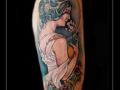 art nouveau,vrouw,bloemen,aura,lijst,bovenarm,