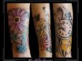 bloemen klok horloge vogels onderarm