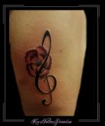 bloemen,bloem,muzieksleutel,bovenarm,