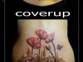 coverup bloemen klaprozen onderrug