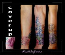 coverup onderarm bloemen