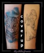 coverup portret poes kat dier onderarm