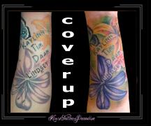 coverup van bloem naar bloemen onderarm