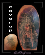 coverup,ridder ,harnas, kruisridder, tempelier, bovenarm,
