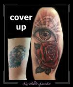 coverup,roos,rozen,bloemen,oog,bovenarm,