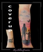 coverup,silhouet,ondergaande zon,strand,water,moeder,kind,vlinder,lucht,onderarm,