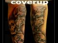coverup,skulls,doodskoppen,horen zien en zwijgen, onderarm,