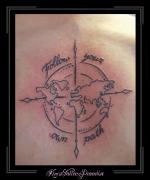 kompas tekst rug globe